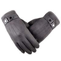 погодные перчатки оптовых-Мужская замша с сенсорным экраном Мягкий толстый флисовый вкладыш Универсальные перчатки для холодной погоды Зимние теплые перчатки на открытом воздухе Вождение Велоспорт Работа