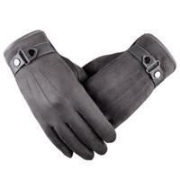 guantes para hombre al por mayor-Cuero de gamuza para hombre Pantalla táctil Suave grueso Forro polar Versátil Guantes para clima frío Invierno Cálido Guantes al aire libre Conducción Trabajo en bicicleta
