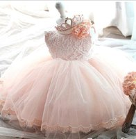 Wholesale Sleeveless Wedding Dresses Pictures - 2017 New Cute Flower Girls' Dress Summer Fashion Pink Lace Big Bow Party Tulle Flower Princess Wedding Dresses Baby Girl Tutu dresses MC0282