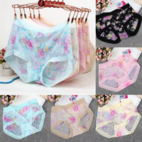 Wholesale Womens Sexy Boxers - Wholesale-Summers Thin Transparent Womens Ladies Underwear Boxer Shorts Lace Briefs Sexy Lingerie Printed Pants Fits Size UK 8-14 knickers