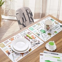 Wholesale Dinning Plates - Wholesale- Fork Spoon Printed Dinner Placemats PVC Western Pad Insulation Dinning Table Mat Kitchen Plate Pot Mat Computer Pad