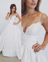 Wholesale Spagetti Strap Lace Wedding Dress - Charming V-neck A-line Wedding Dresses Chapel Train Lace Up Back Satin Spagetti Strap Bridal Wedding Gowns Vestido De Novia