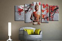 Wholesale Framed Office Wall Art - No Frame Buddha Canvas Wall Art Home Office Decoration 5 Panel Large Printed Poster Painting Decor