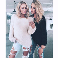 Wholesale Women Beige Coat Cashmere - Cold Winter Soft Fur Coat Sweaters Crochet Knitted Tops Blouse Long Sleeve Pullover Solid Women Clothes One Size CK0913