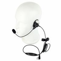 kulaklık seti toptan satış-Toptan-Sıcak 2 PIN D-Şekil Kulaklık Kulaklık Boom Mic Parmak PTT KENWOOD Retevis BAOFENG UV5R H555 WOUXUN PUXING Radyo C2201A eshow