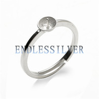 Wholesale Sterling Silver Blanks Wholesale - Simple Ring Settings Blank Base Band 925 Sterling Silver DIY Jewellery Finding Mountings for Pearl Party