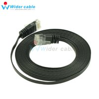 Wholesale Fluke Cable - 10FT Premium Quality 32AWG Passed Fluke RJ45 Patch Cable Flat CAT6 UTP Cable Black Color (1.1*4.1mm)