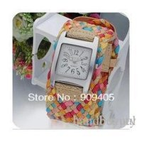 Wholesale Korea Leather Rope Watch - New 7 Colors Promotion Fashion Korea Rope Watch Braided Leather Cord bracelet watch.Lady watch. Free Shipping 0424vv