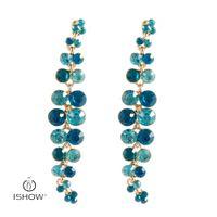 Wholesale Long Evening Earrings - New Vintage Gold-color Party Jewelry Crystal Earrings Rhinestones eardrop For Woman Gift Pendientes Black blue Long party evening Earrings
