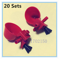 Wholesale Drink Bird - Wholesale-20 sets Bird drinking fountain Water bowls Chicken Cups Card saliva cupsParrot Quail Beekeeping Free shipping