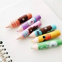 Wholesale Mini Promotional Boxes - Wholesale- 72 pcs lot Pencil Stub Mini Cartoon Colorful Candy Color Highlighters Promotional Markers Gift Stationery