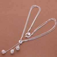 Wholesale Small Ball Necklace Chain - Wholesale-Fashion Elegant Ladies Necklace 925 Small Ball Pendant Long Necklace Mulit Chain Silver Plated Jewelry Loving Gift AN442