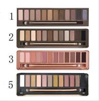 высокая пигментная тени для век оптовых-12 цветов палитры теней для век Nude Makeup Earth Color с высоким пигментом Блеск Smoky Eye Shadow Set с зеркалом + кисть