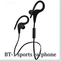 Wholesale Bluetooh Earphone - New Bluetooh Wireless sports stereo Earphones Headset ear-hook BT-1 4.0 For Cell phone with retail box Free shipping by DHL