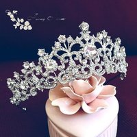 Wholesale Platinum White Hair - European Bride Tiaras Baroque Luxury Rhinestone Crystal Crown The Queen Diamond Hair Princess Korean White Shining Hair Accessories