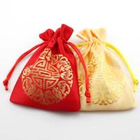 Wholesale Cheap Wholesale Jewelry Bags - Small Drawstring Chinese Silk Jewelry Pouch Cheap Joyous Storage Bag Gift Bag 9x12 cm Wholesale 50pcs lot