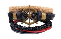 Wholesale Antique Enamel Gold Bracelet - 30pcs Leather Bracelet Antique Cross Anchor Knitting Bronze Charm Bracelets
