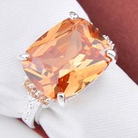 Wholesale Copper Fire Ring - 5 Pieces 1 lot Lucky Shine Family Gift Glary Square Fire Morganite Crystal 925 Sterling Silver Rings Russia American Australia Wedding Rings