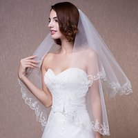 Wholesale bridal cheap veil - Cheap In Stock Elbow Length 2 Layers Bridal Veil With Lace Applique Tulle Wedding Veils Ivory White for Wedding Events Online