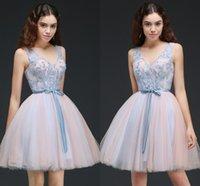 Wholesale Girl Sexy Stockings - In stock Pretty Junior Girl Party Dresses V Neck Pleats Tulle Embroidery Short Homecoming Dresses A Line Bow Robe De Soiree cps658