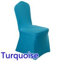 Wholesale Turquoise Wedding Chair Covers - spandex chair cover Turquoise colour flat front lycra stretch banquet chair cover for wedding decoration wholesale on sale