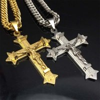 Wholesale Gold silver tone Cross Christ Jesus Pendant Necklace Stainless Steel Link rolo Chain Heavy Men Jewelry Gift quot mm