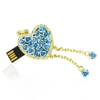 HanDisk Blue Rosey Heart Metal Diamond Flash Drive 128MB / 1/2/4/16/32/64 / 128gb Usb Pen Drive Disco rígido portátil Memory stick EU046