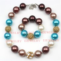 Wholesale Gold Coffee Beads - fashion jewelry gold alloy rhinestone beads coffee&blue pearl beads chunky girl bubblegum kids Necklace&bracelet set