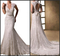 Wholesale Short Strapless Sweetheart Dresses - 2016 Vintage Mermaid Full Lace Wedding Dresses Sweetheart Strapless Backless Chapel Train Appliques Ribbon Ruffles Cheap Bridal Gowns