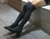 Wholesale Hand Painting Wool Fabric - high quality~u694 34 40 genuine leather glitter stretch thigh high wool heel boots grey fashion over the knees luxury designer runway shoes