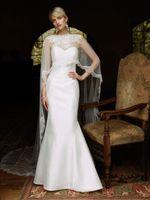 Wholesale Cowl Back Lace Wedding Dress - 2015 Vintage Mermaid Wedding Dresses With Wrap 2016 Lace Illusion Nets Cowl Backs Bridal Gowns White Satin Ruffle Skirts Wedding Dresses