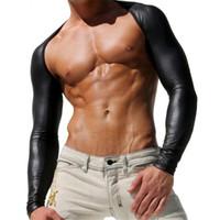 heißes männer-leder-shirt großhandel-Großhandels-Heiße Verkaufs-Männer Faux-Leder-Unterwäsche, reizvolles langes Hülsen-Hemd der Männer