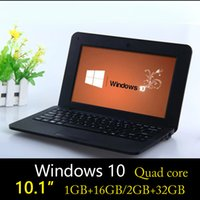 10,1 Zoll Mini Student Netbook Quad Core 1024 * 600 Windows 10 Betriebssystem 1.33 GHz 1 GB + 16 GB / 2 GB + 32 GB Billige Notebook