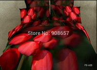 Wholesale Comforter Wedding Twill - 7-8pc wedding red tulip flower print comforter bedding set 3d oil painting bed linen cotton duvet quilt covers full queen sheets