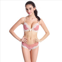 Wholesale Polka Dot Bra 36c - French Brand Lace Bra Sets Sexy Women Underwear Set Young Girls BC Thin Cup Cotton Bra and Panty Seamless Wireless lingerie set