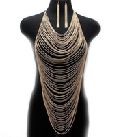 Wholesale Metal Curb Chain - Multilayer Body Chains Earrings Europe Fashion Women Multi Curb Chain Metal Silver Gold Tassel Body Chain Harness Necklace Pendants Jewelry