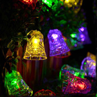 Wholesale Waterproof Battery Solar Powered Led - Christmas Fairy Lights Bell Lamps 20LEDs Solar LED String Lights Solar Powered Garden Decoration Lights Waterproof Fence Lamp