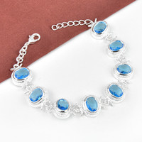 Luckyshine 2Pcs Holiday Gift Brilhante Crystal Fire Meanningful Drop Blue Topaz Gem 925 Sterling Silver Plated Braceletes Bangles Russia Bangles