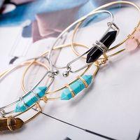 Wholesale Sterling Silver Bullet - New Bullet Shape Natural Stone Charms Bracelets Hexagonal Prism Quartz turquoise Crystal gems Bangle Jewelry for women men