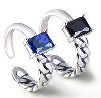jóias azul preto venda por atacado-Real s925 sterling silver jewellery banda anéis mulher senhoras homem tailândia prata preto azul cristal aberto tecer moda única atacado 6 pcs