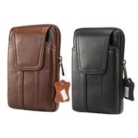 Wholesale leather belt bag for men - Genuine Leather 6.2inch Fashion Men Waist Bag for iPhone Retro Belt Pouch for Samsung Note 8 S8 Plus S7 Wallet Case