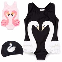 Wholesale 18 Month Girl Swimwear - Baby Girl Swimwear New INS Cartoon Printed Kids Summer One Piece Swimming Suits Parrot Swan Flamingos Digital Printing Children Swimsuits