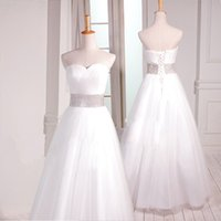 Wholesale Soft Photo - Romantic Sweetheart Beaded Soft Tulle Ball Gown Wedding Dress 2018 Floor Length Wedding Gowns Lace Up