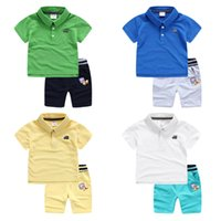 Wholesale Baby Clothing Polo - Quality brand 2016 summer children outdoor car skateboard little kids clothes cotton baby boys sets Polo shirts + shorts can open crotch