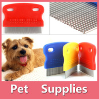 Wholesale Fine Toothed Comb - Pet Cat Dog Flea Fine Toothed Clean Comb Hair Brush Soft Protection Steel Small With 3 Colors Red Blue Yellow