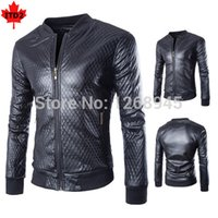 Wholesale Black Quilted Leather Jacket - Fall-Black Plaid Quilted Thick Jacket Men PU Leather Motorcycle Skinny Fit Mens Zipper Short Jackets