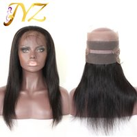 Wholesale Virgin Natural Straight Wigs - Pre Plucked 360 Lace Frontal With Wig Cap Peruvian Brazilian Straight Hot Beauty Hair Frontal Natural Hairline 360 Lace Virgin Hair