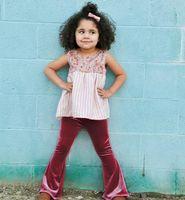 Wholesale Pink Velvet Clothing Wholesale - Spring Autumn Baby Girl Pants Velvet Christmas Flare Pants Kids Clothing 1-4Y K695