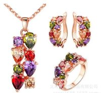 Wholesale Necklace Hoop Rings - free shipping bridal Jewelry three-piece colorful shiny zircon anti-allergic necklace earrings ring set cheap jewelry for women