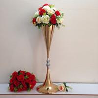 "Wholesale Wholesale Columns For Weddings - 70cm   27.6"" Wedding Road Lead Flower Shelf Gold Table Stand for Wedding Centerpiece Decoration Flower Road Lead Column ZA4586"